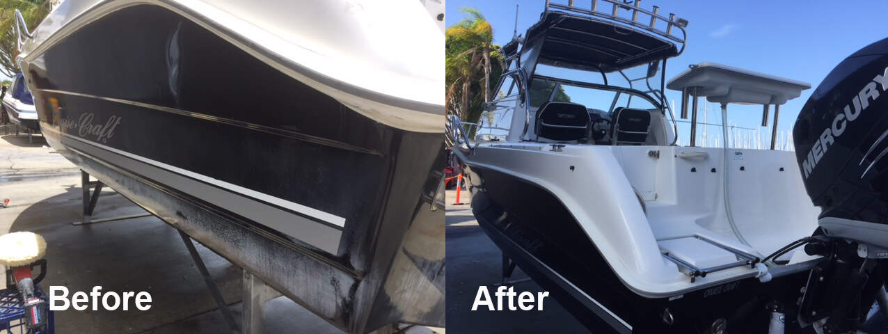 Cruisecraft Outsider 85 - Before and after shots of Gelcoat Restoration by The Boat Care Company