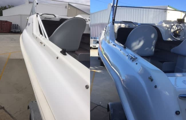 Freedom Cuddy Cab 5m - Gelcoat Polishing by The Boat Care Company - Before & After