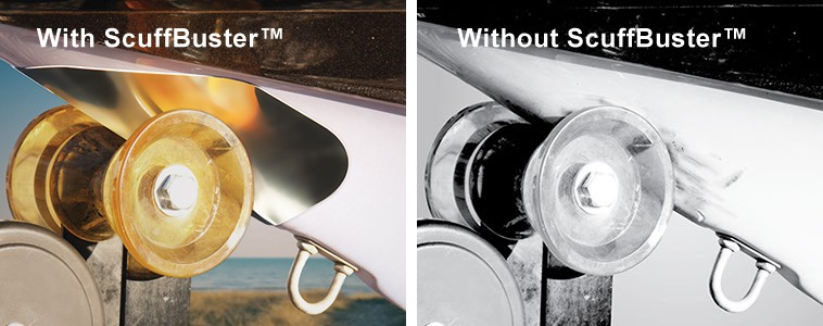The Megaware ScuffBuster™ protects your boat from unsightly marring. Made from anti-corrosive, 22-gauge 304 stainless steel, Megaware ScuffBuster™ products attach to your boat's surface with the highest quality materials and 3M® pressure-sensitive adhesives.