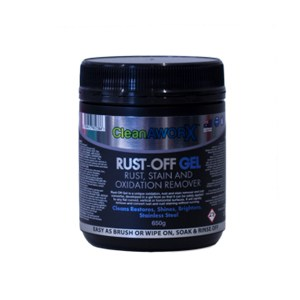Rust-Off Gel is a unique oxidation, rust and stain remover and rust converter, developed in a gel form so that it can be safely applied to any flat curved, vertical or horizontal surfaces.