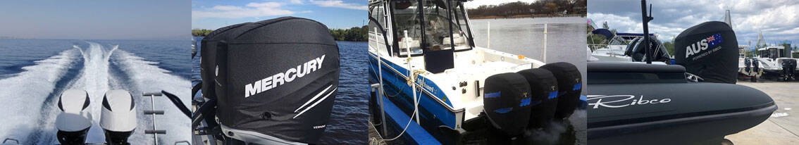 Outboard Cover for 2 stroke motor for protection available from The Boat Care Company Australia